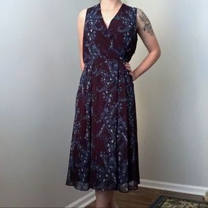 CAbi Treasure Dress Purple Paisley Midi Size 14